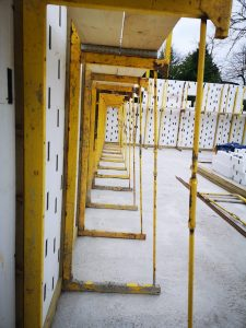 Image of an ICF bracing system being used on-site