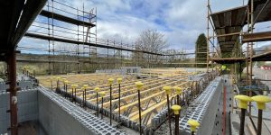 posi-joists being installed on an ICF self-build
