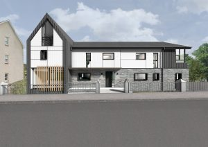 Front view CGI of low-carbon home in Callander